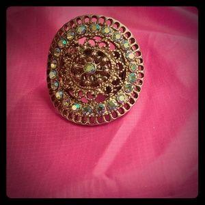 Vintage looking Swarovski Crystal ring